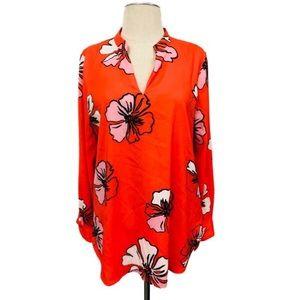 Vince Camuto Orange Floral v-Neck Blouse/Top SZ S